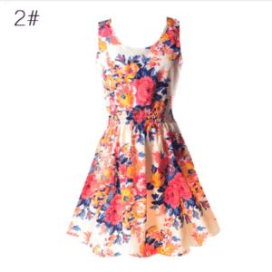 Заквітчане плаття з круглим вирізом без рукавів