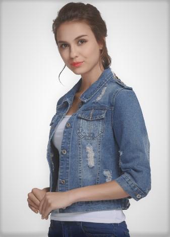 джинсова куртка в інтернет-магазині Aliexpress з рукавами три чверті
