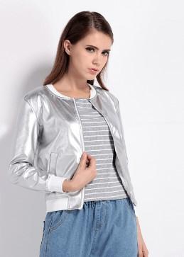 Легка курточка кольору металік